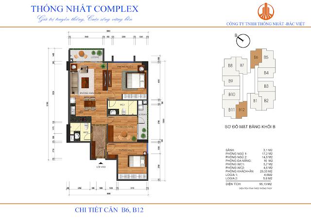 Thiết kế căn hộ B6 - B12 chung cư Thống Nhất Complex