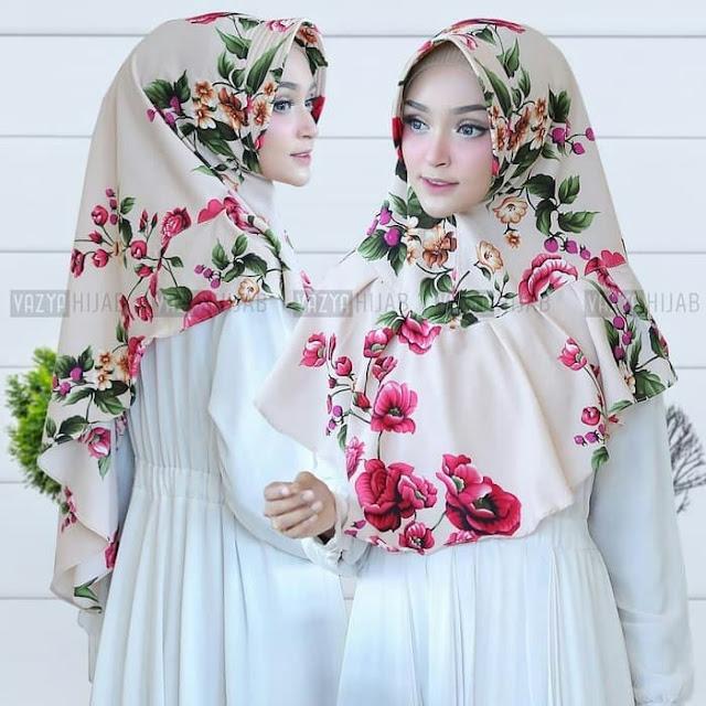 Jilbab Instan Syari Murah Motif Bunga Aghnia Timbul