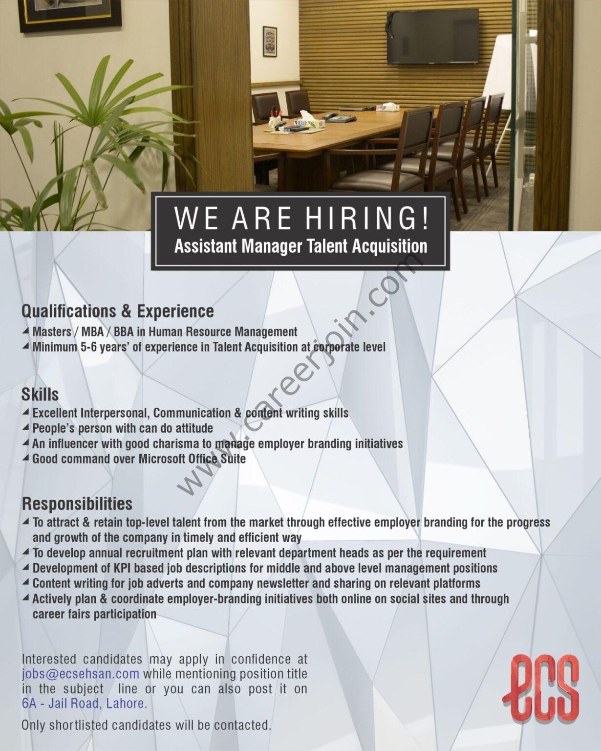Ehsan Chappal Store ECS Jobs Assistant Manager Talent Acquisition