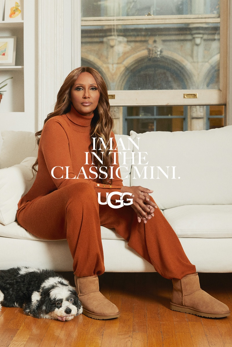 Supermodel Iman wears UGG Classic Mini for the brand's spring 2021 campaign.