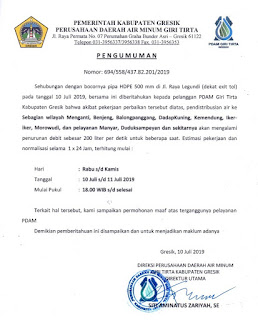 Bocornya Pipa Hdpe , Pendistribusian Air Pelanggan Pdam Giri Tirta Kabupaten Gresik Mengalami Penurunan Debit Sebesar 200 Liter Per Detik