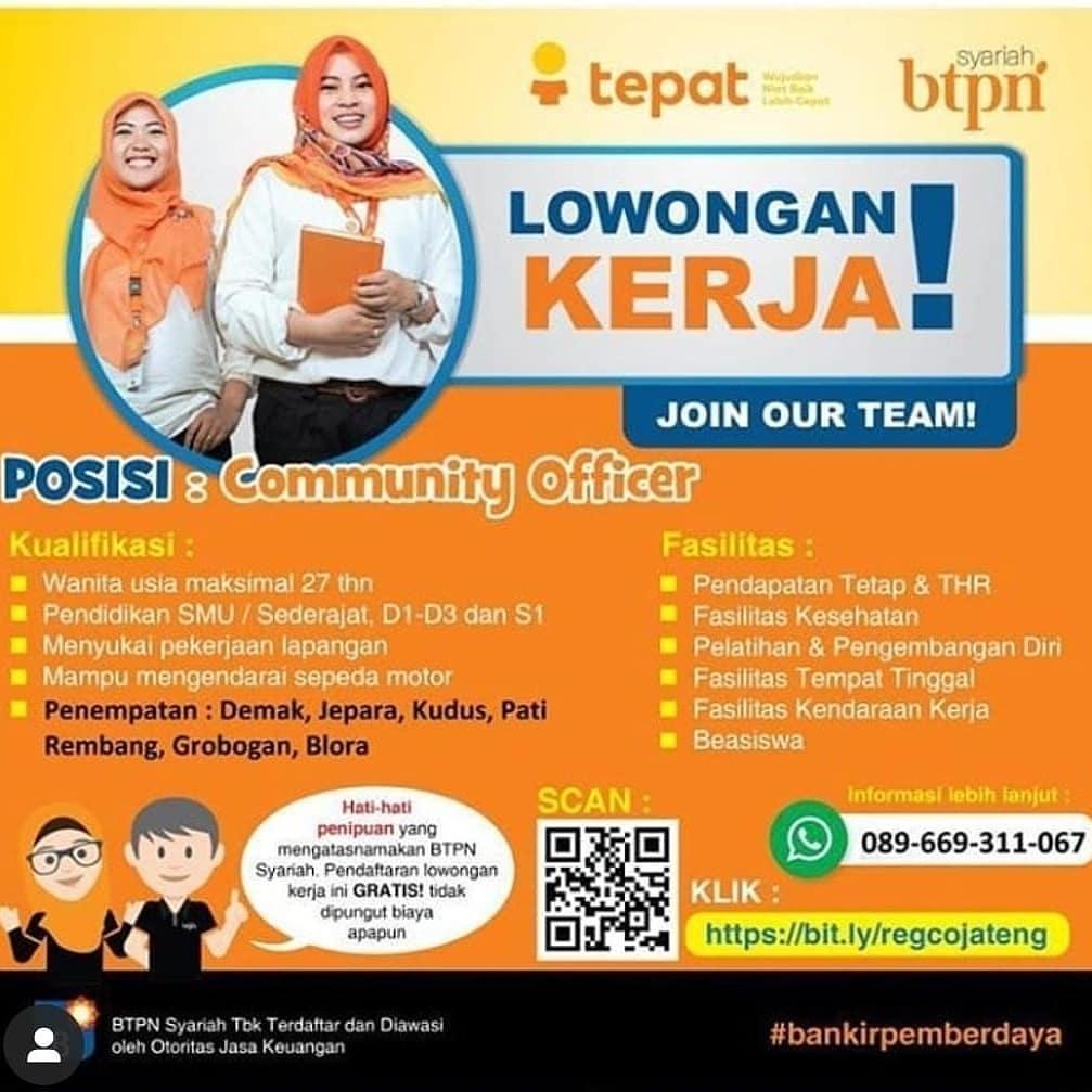 Lowongan Community Officer Bank BTPN Syariah Rembang