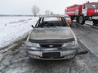 """(ФОТО)В результате пожара  произошедшего на трассе автодороги г. Сухой Лог - г. Камышловм сгорел  легковой автомобиль """"Daewoo Nexia"""""""