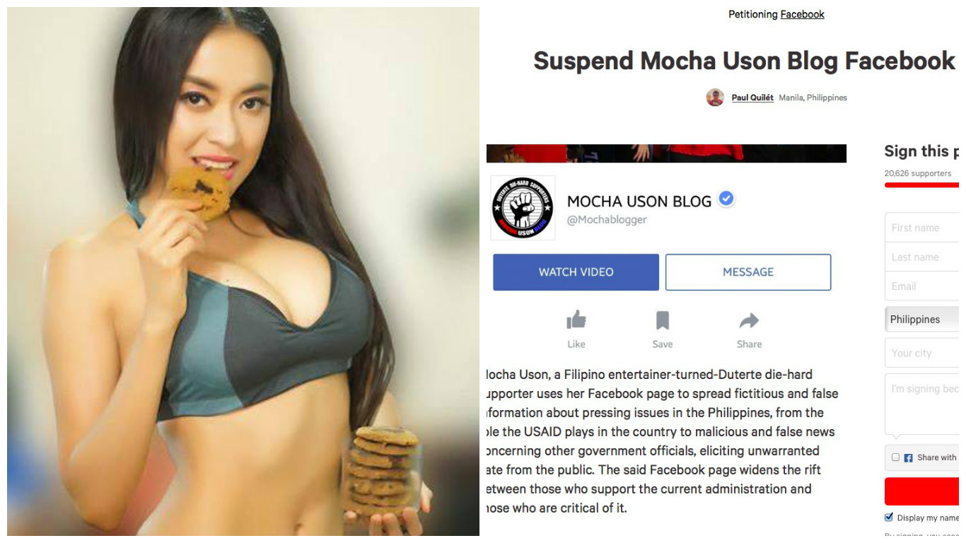 Petition Asks Facebook to Suspend 'Mocha Uson Blog'