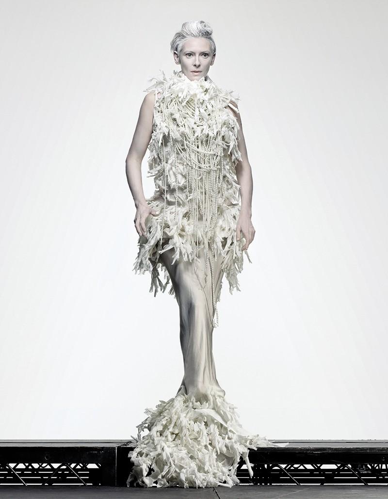 actress Tilda Swinton in haute couture