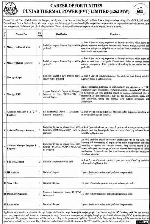 Punjab Thermal (Pvt) Ltd Latest Jobs
