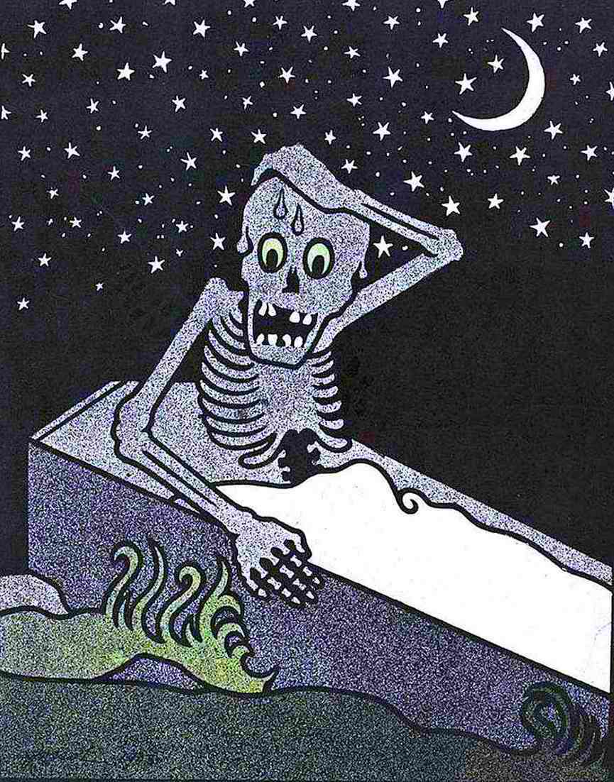 a Henri-Gustave Jossot 1903 illustration of an anxious skeleton awakening in a coffin