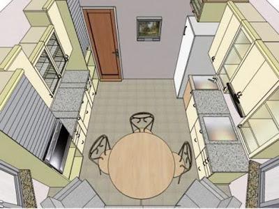kitchen plan with bay windows