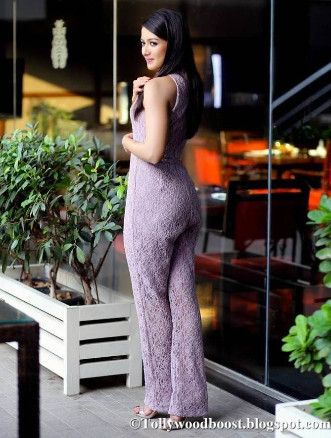 Telugu Girl Catherine Tresa Photo Shoot In Violet Dress