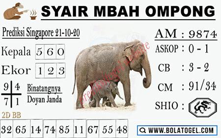 Syair Mbah Ompong SGP Rabu 21 Oktober 2020