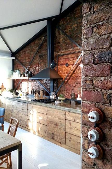 inspiracje w moim mieszkaniu Stara cegła w kuchni  Old   -> Kuchnia Z Cegly
