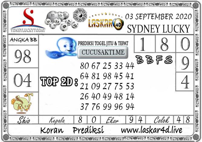 Prediksi Sydney Lucky Today LASKAR4D 03 SEPTEMBER 2020