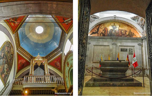 Órgão da Catedral de Quito e o túmulo do marechal Sucre