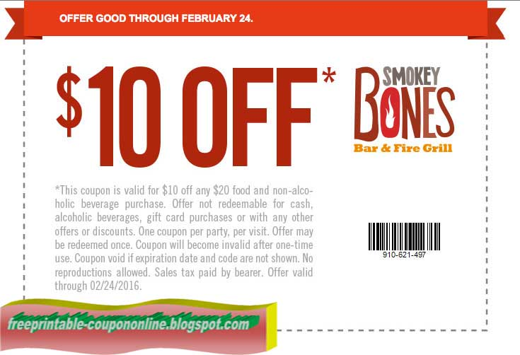 image regarding Bojangles Printable Coupons known as Smokey bones printable discount coupons 2018 / Contemporary Bargains