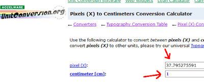 Come convertire pixel in centimetri