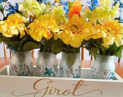 Frosted Beachy Mason Jars Vases