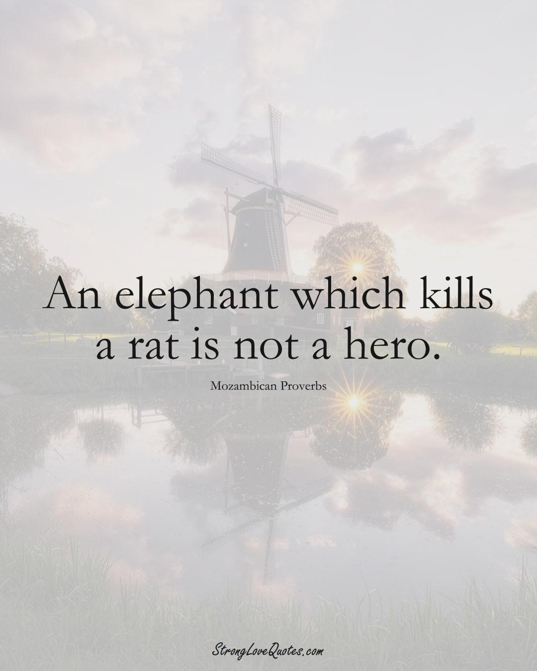 An elephant which kills a rat is not a hero. (Mozambican Sayings);  #AfricanSayings