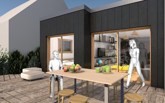 plan 3D d'une terrasse de maison pour une famille par Pascal Ponchon, architecte d'intérieur, maître d'oeuvre à Séné dans le golfe du Morbihan