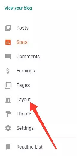 Navigate to layout option in blogger setting