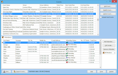 Member Manager's Events window