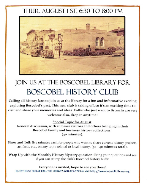 Boscobel Public Library History Club meeting August 1st 2019