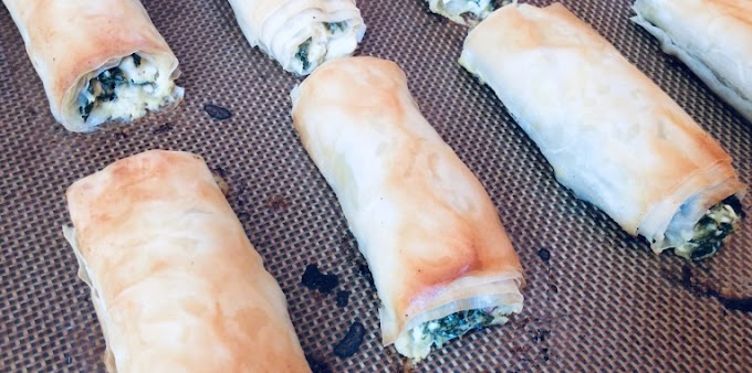 Bok Choy, herbs and Feta Rolls