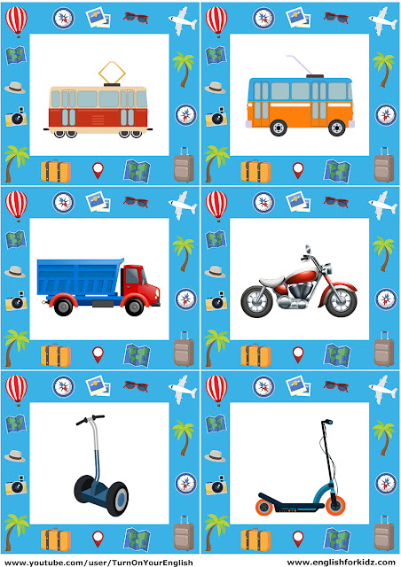 English transportation flashcards for children