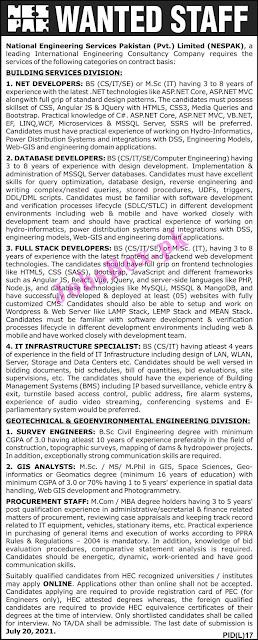 National Engineering Services Pakistan NESPAK Jobs 2021 – Apply Online