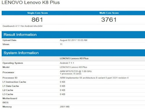 LENOVO K8 NOTE PLUS RAM 3GB MUNCUL DI GEEKBENCH. BERIKUT SCORE PERFORMANYA !
