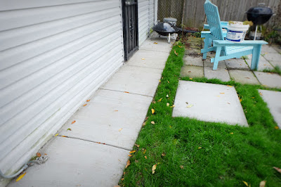 after back door path concrete walkway walk finished