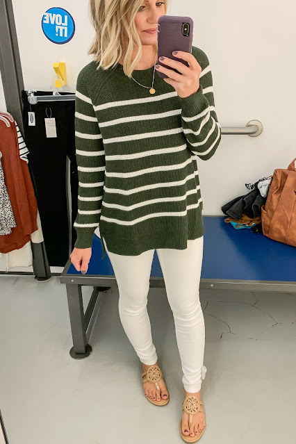 Green and white striped sweater #sweater