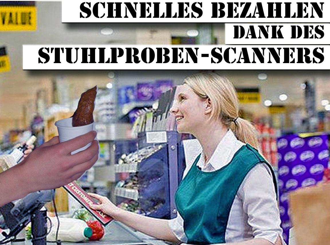 Witzige Satire - Schnelles bezahlen mit Stuhlproben Scanner - lustige Erfindung