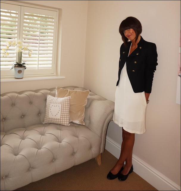 My Midlife Fashion, Zara military jacket, Hush triangle dress, quilted ballet pumps