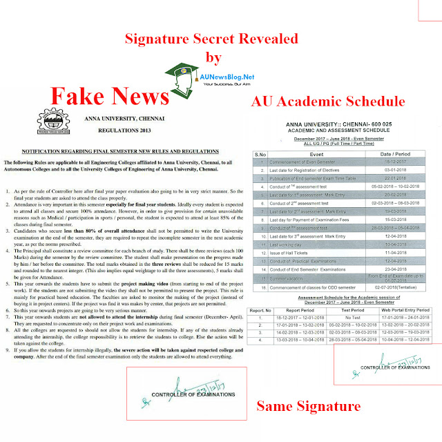 Fake News spreading in Social Media about Anna University final semester rules