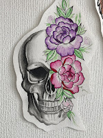 череп пионы тату