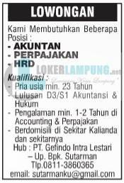 Loker Lampung Terbaru Accounting di PT. Gefindo Intra Lestari September 2016