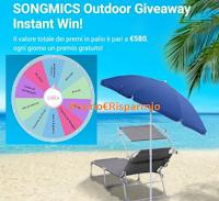 Logo Songmics ''Gira la ruota'' e vinci gratis 21 premi (sdraio pieghevole, sedia campeggio, coperta picnic, coperta spiaggia, poltrona sospesa o amaca.