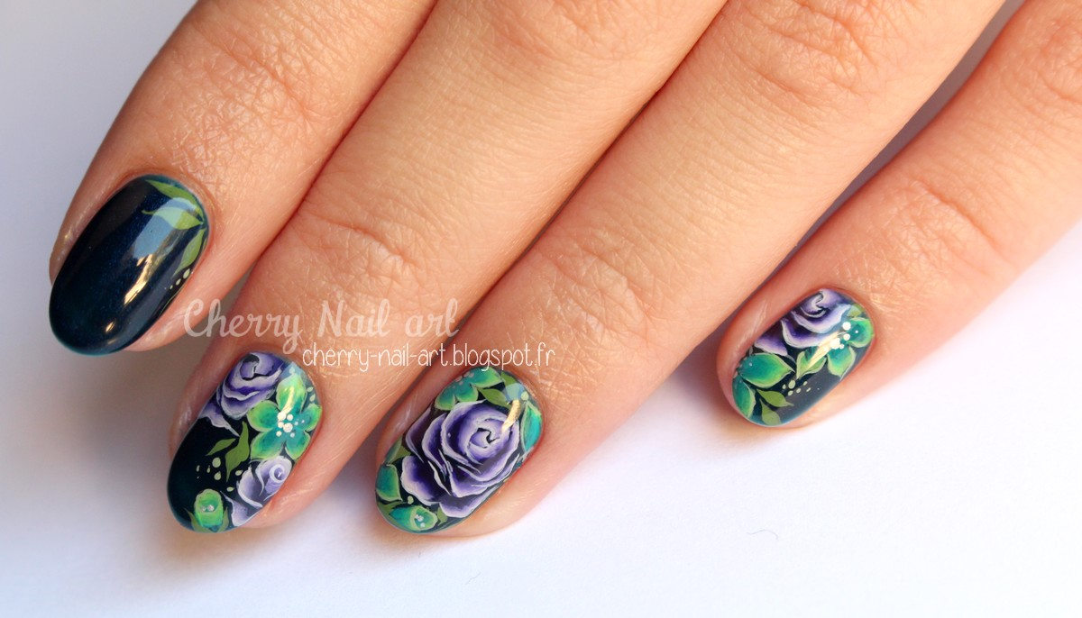 nail art one stroke fleurs jungle