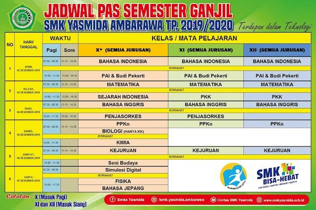 Desain Banner Jadwal PAS Semester Ganjil SMK Yasmida