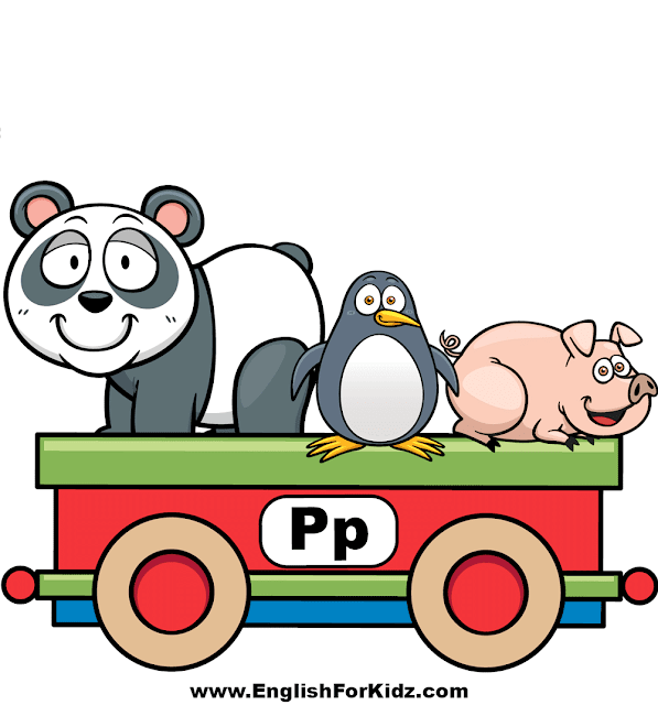 Letter P is for panda, penguin and pig - ABC train wall decor
