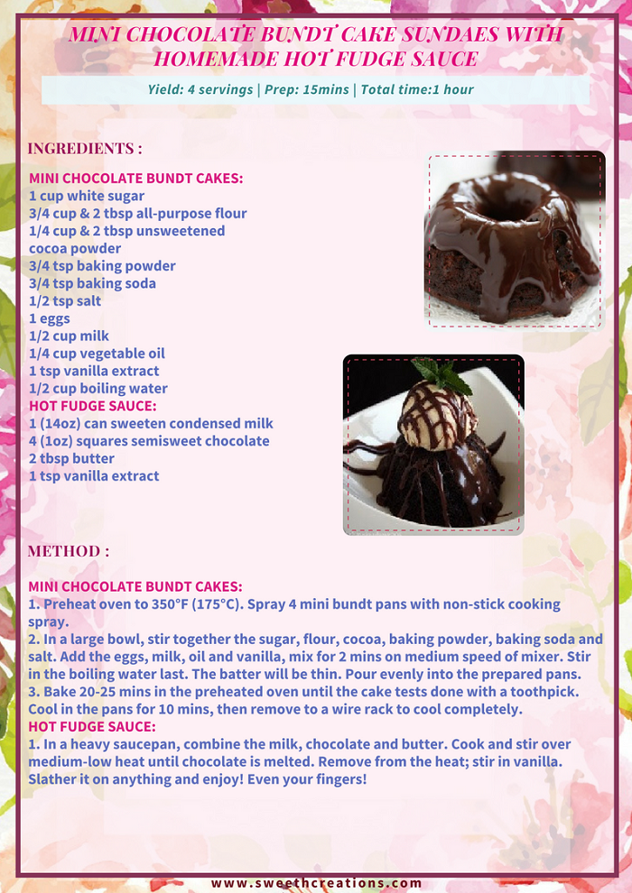 MINI CHOCOLATE BUNDT CAKE SUNDAES WITH HOMEMADE HOT FUDGE SAUCE RECIPE