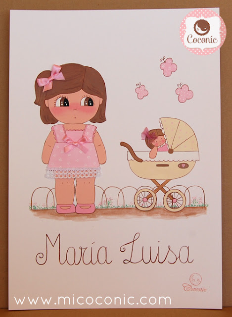 cuadro infantil lamina nina carro bebe