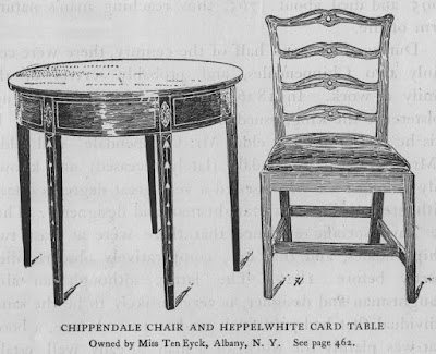 chippendale chair and hepplewhite card table