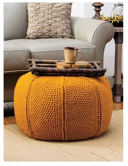 order best cute round table with  orange brown crochet pouf for sofa corner