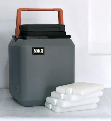 termo kst con termometro Paquetes frios cajas conservadoras de vacunas gris tapa negra asa anaranjada color plomo