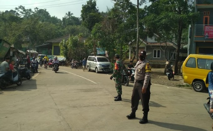 Sinergitas TNI-Polri, Bhabinkamtibmas dan Babinsa Ciomas Laksanakan Gatur Bersama