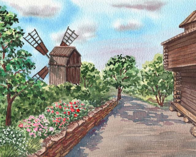 Skansen Stockholm Sweden Watercolor Painting by artist Irina Sztukowski