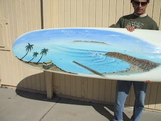 Dana Point SoCal woodie club surfboard painting Paul Carter