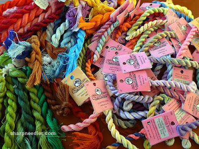 A selection of DMC Floche and Chameleon perlé  embroidery threads