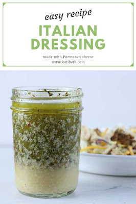This the best Italian dressing recipe! Make a bottle of easy homemade Italian dressing quickly at home.  It has Parmesan cheese to give it a flavor boost.  This recipe homemade has common ingredients that you probably have in your pantry.  It also has a few suggestions for the best oil and the best vinegar to make a DIY salad dressing recipe. #italian #dressing #recipe